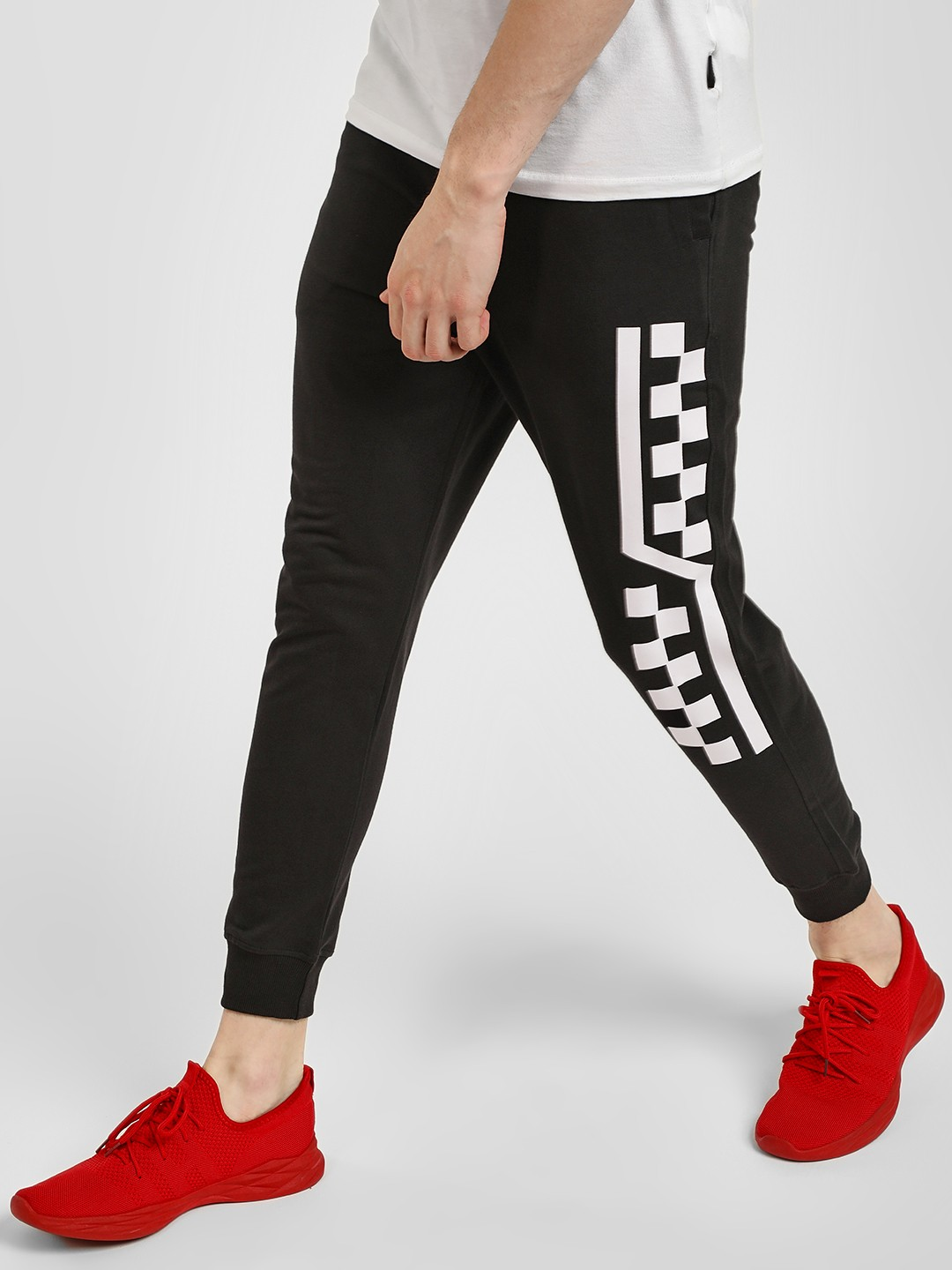 Deezeno Black Racer Side Print Knitted Joggers 1