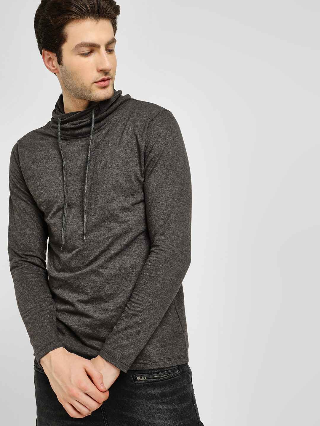 Deezeno Dark Grey Melange Funnel Neck Sweatshirt 1