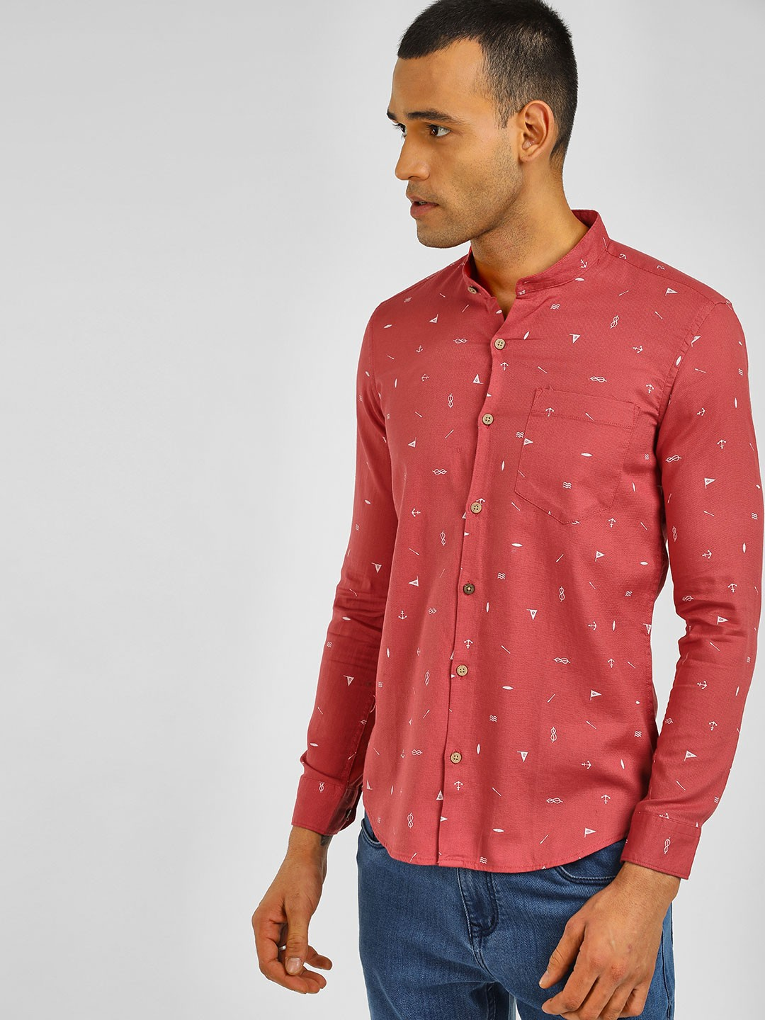 AMON Red Printed Slim Fit Shirt 1