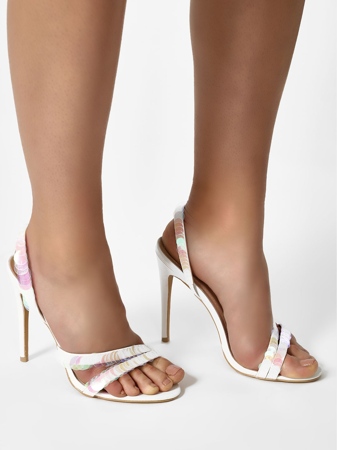 Sole Story White Sequin Strap Slingback Heeled Sandals 1