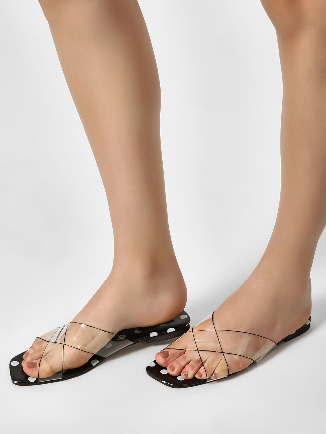 Sole Story Black Clear Strap Polka Dot Sandals 1