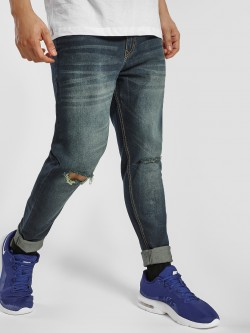 K Denim KOOVS Mid Wash Knee Slit Skinny Jeans