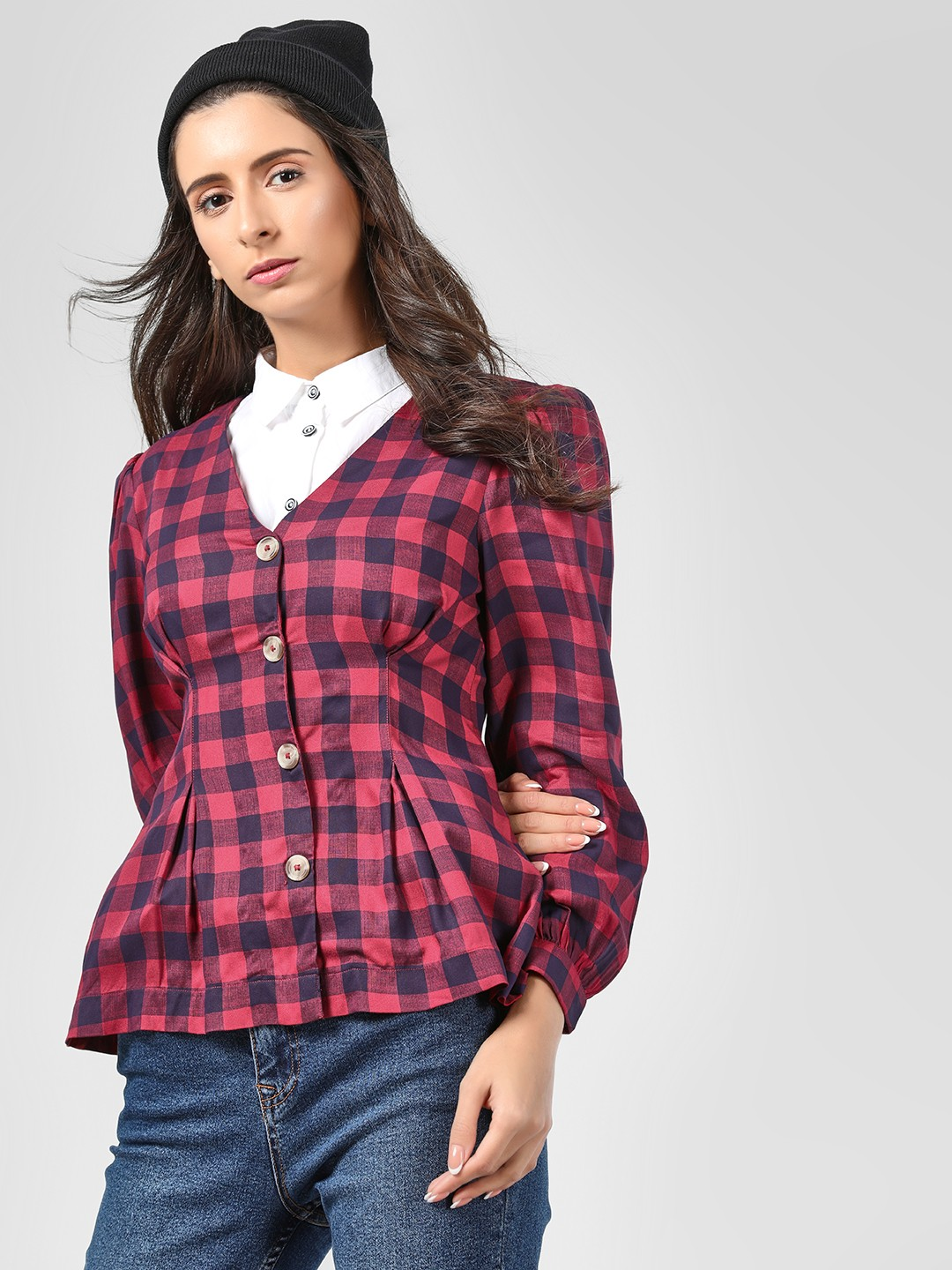 Cover Story Red Tie Knot Sleeve Checked Blouse 1