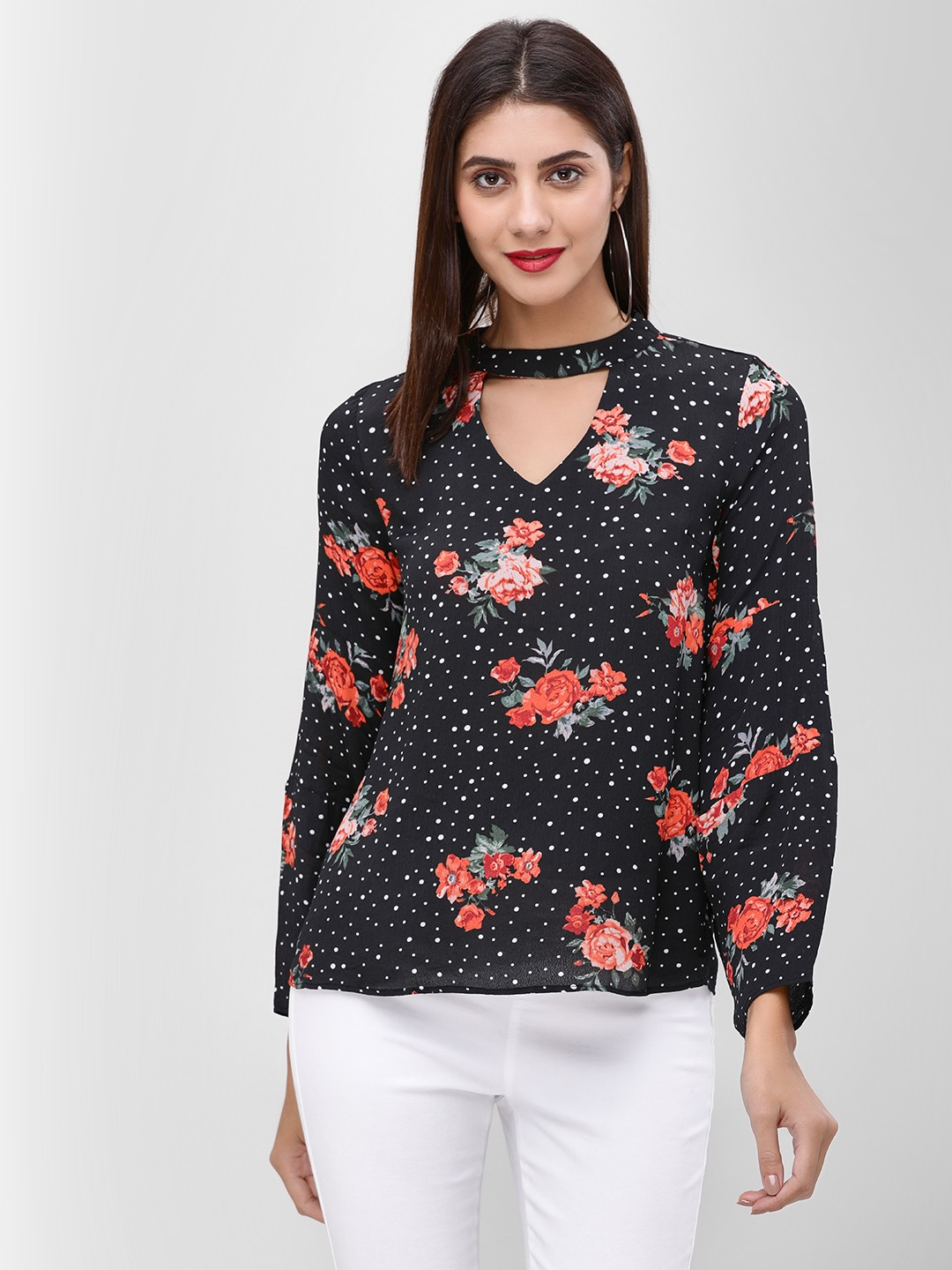 Cover Story Print Floral Printed Choker Neck Top 1