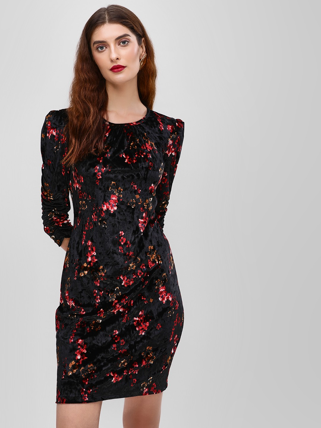 Cover Story Black Floral Printed Bodycon Dress 1