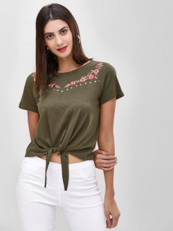 Cover Story Front Tie Knot Embroidered T-Shirt