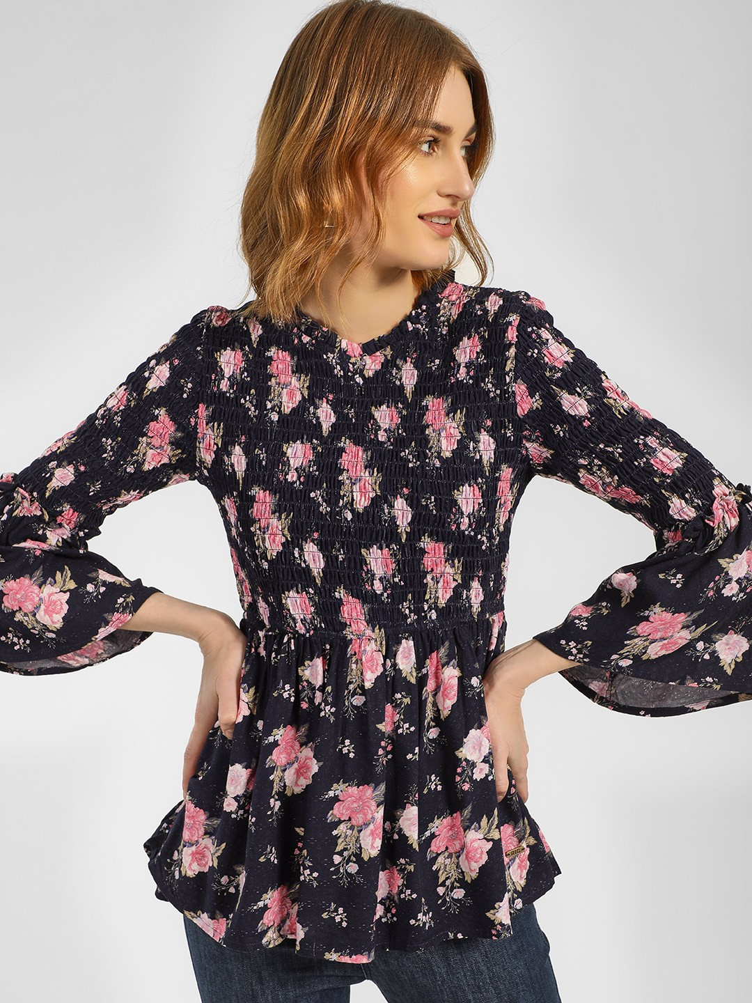 RIG Blue Floral Printed Flared Sleeve Blouse 1