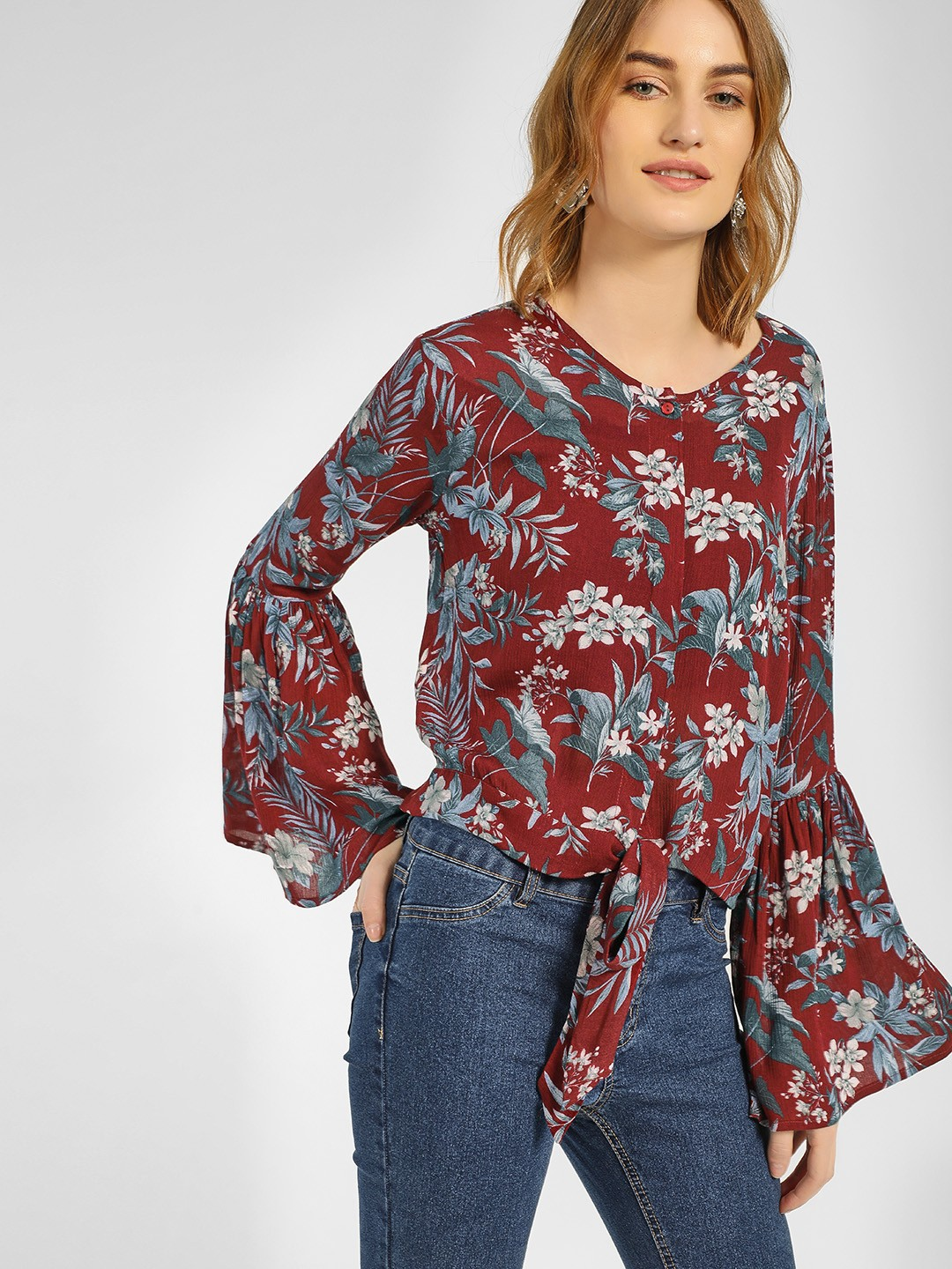 RIG Maroon Tropical Floral Print Top 1