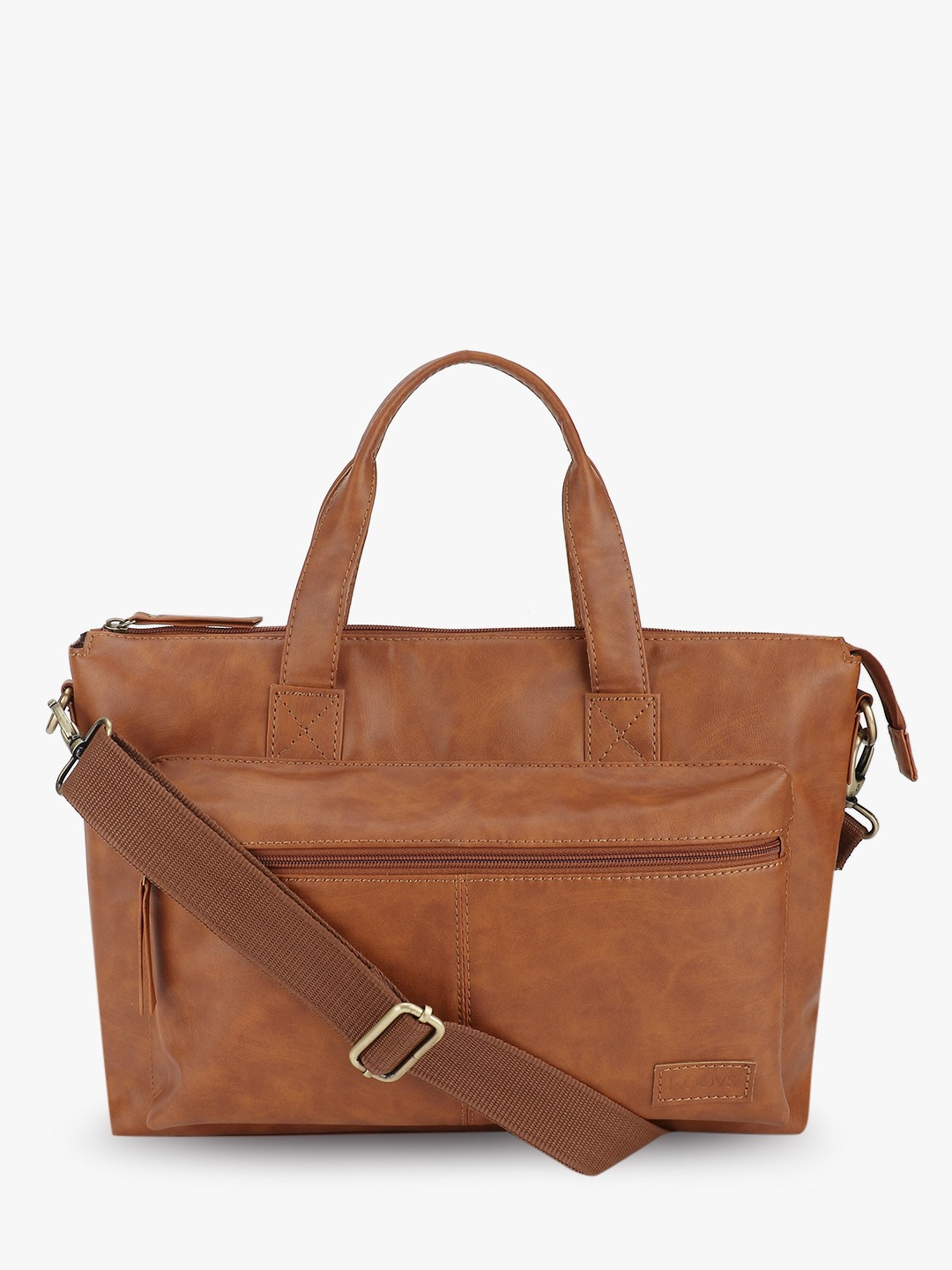 KOOVS Brown Front Pocket Laptop Bag 1