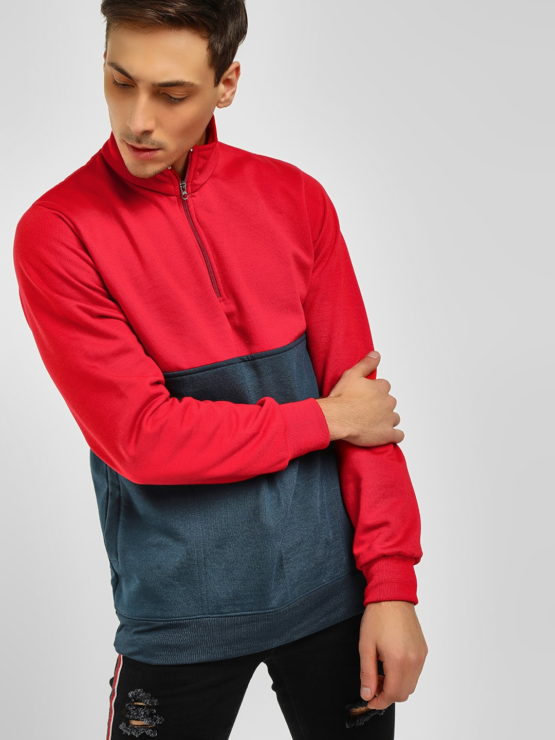 Blotch Red/Blue Half Placket Colour Block Sweatshirt 1