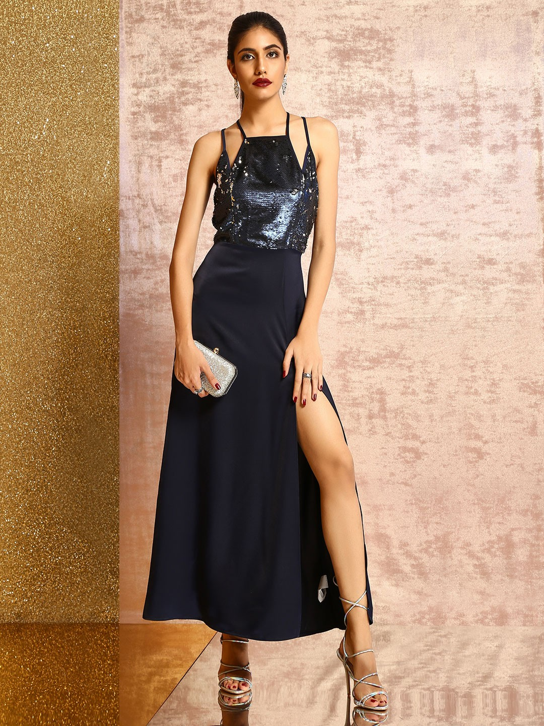 KOOVS Blue Sequin Block Maxi Dress 1
