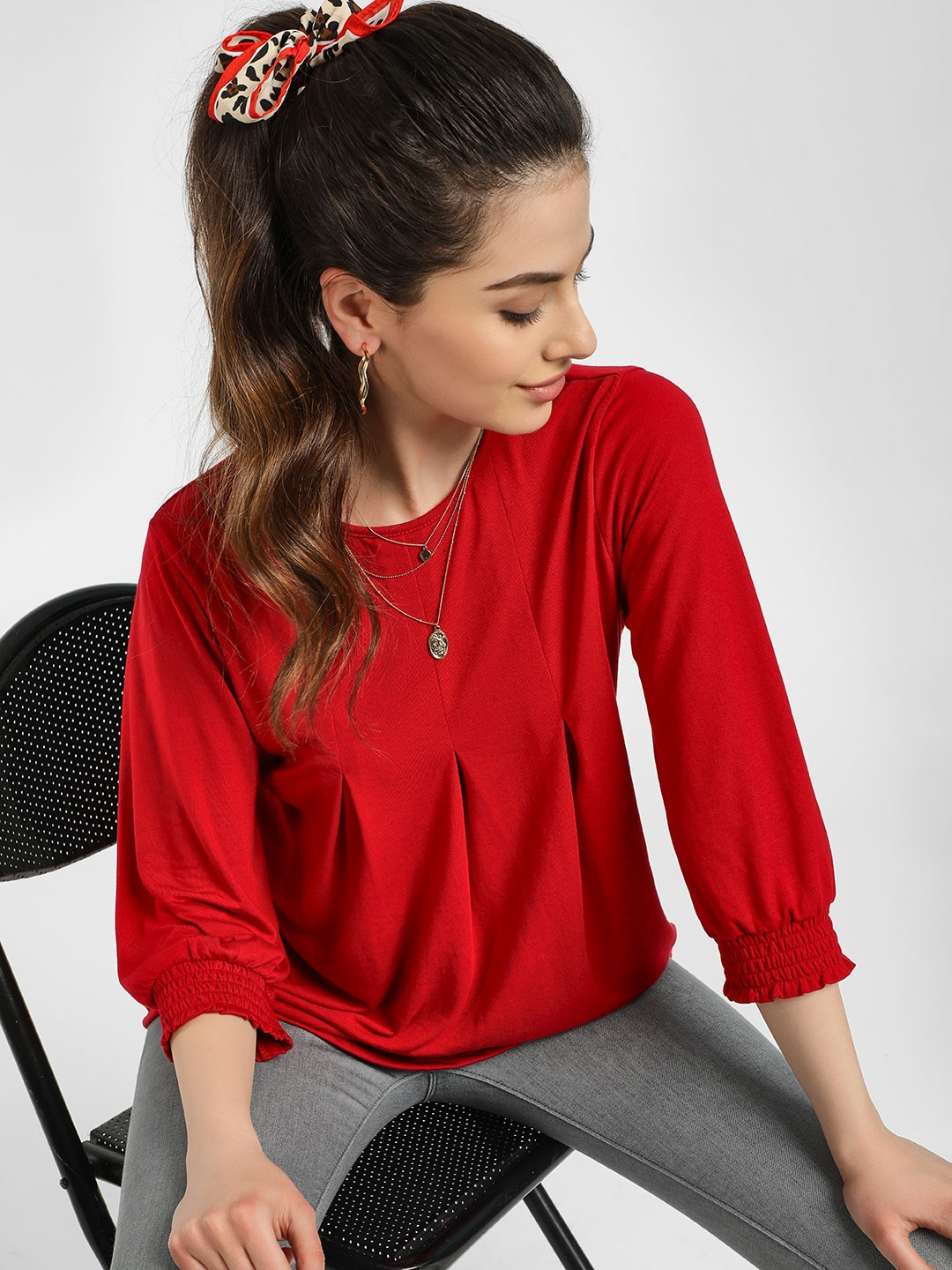 Femella Red Front Pleated Smocked Top 1