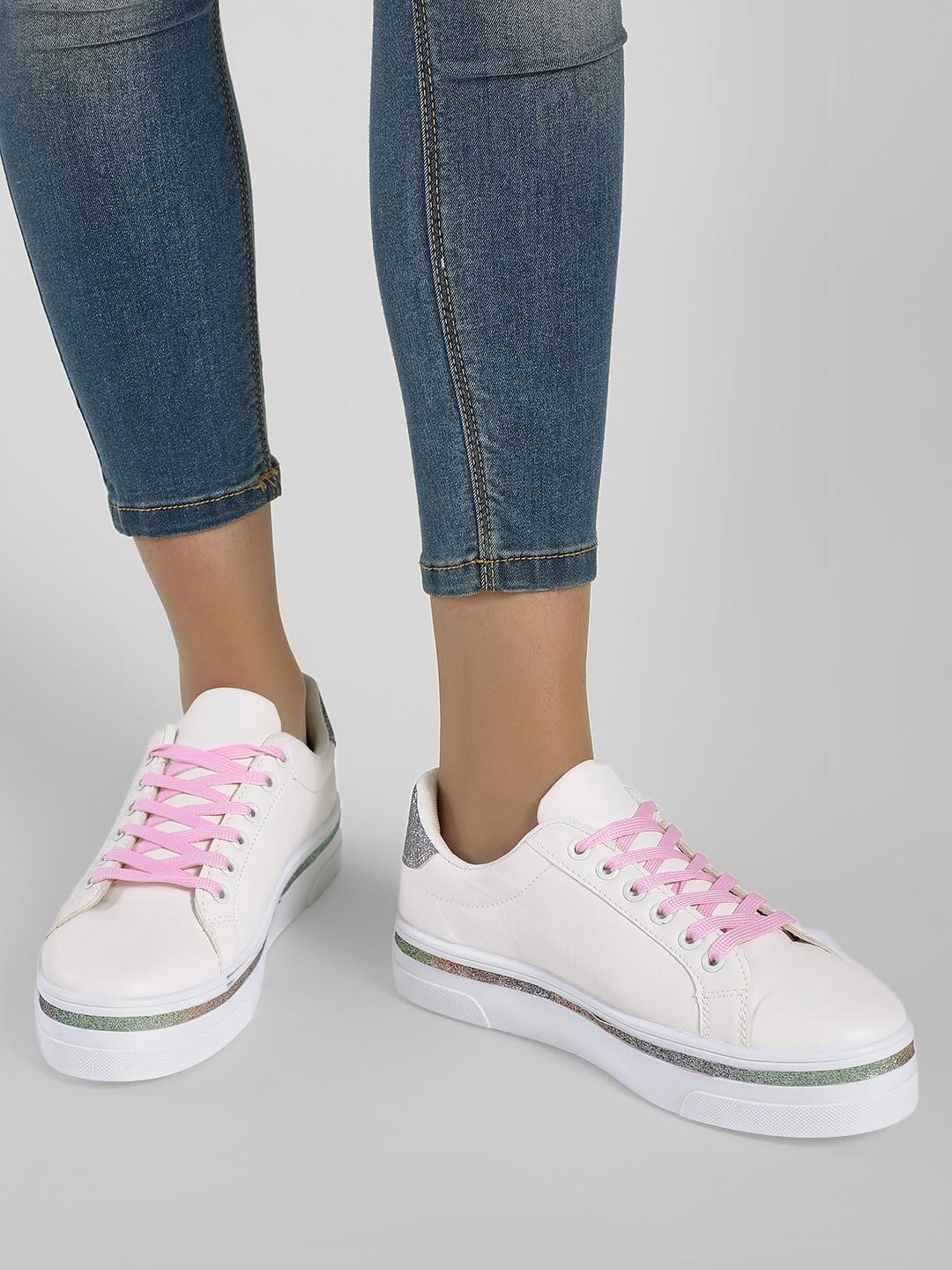 New Look White Glitter Contrast Lace-Up Sneakers 1
