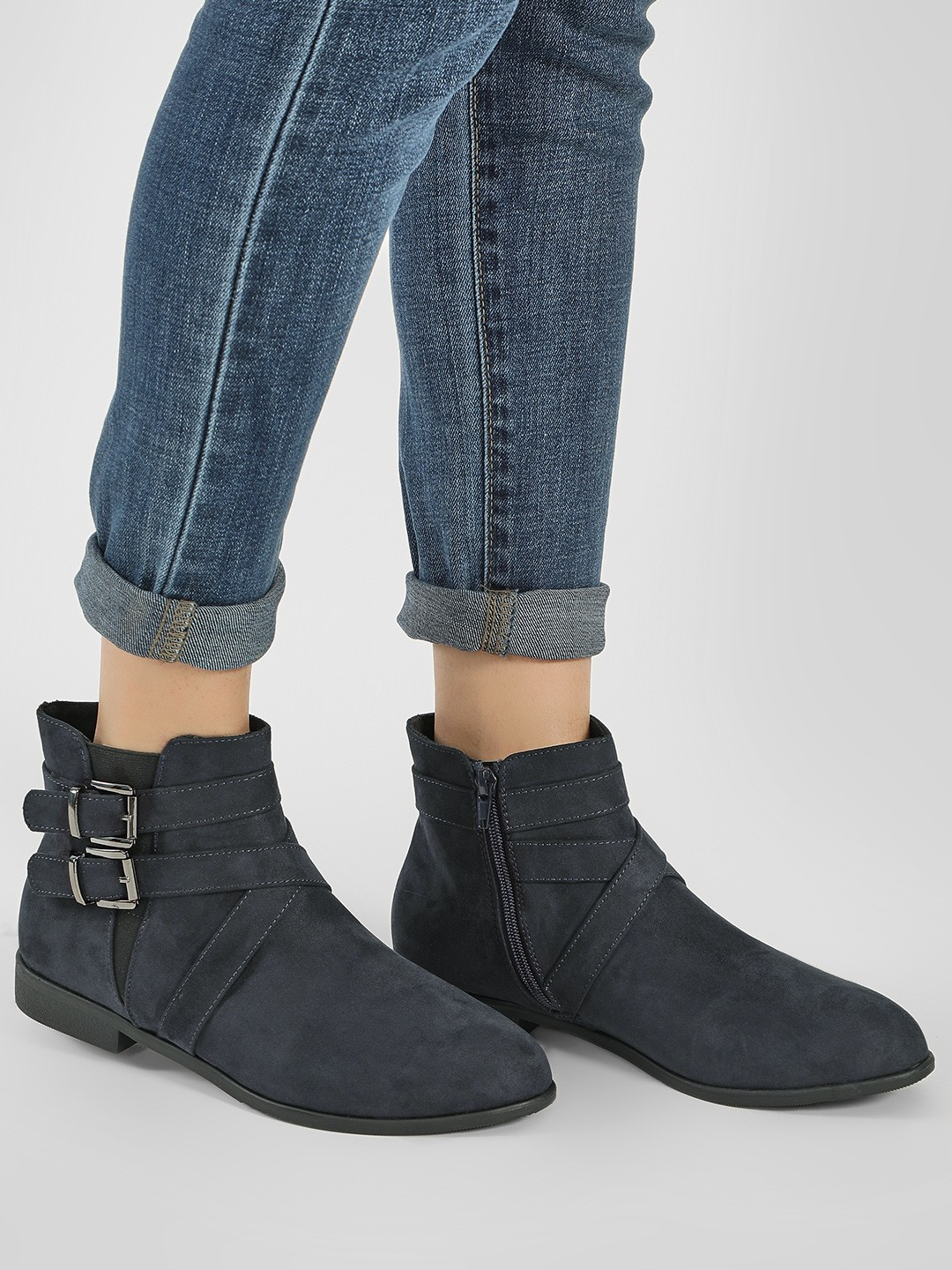 New Look Navy Cross Strap Ankle Boots 1