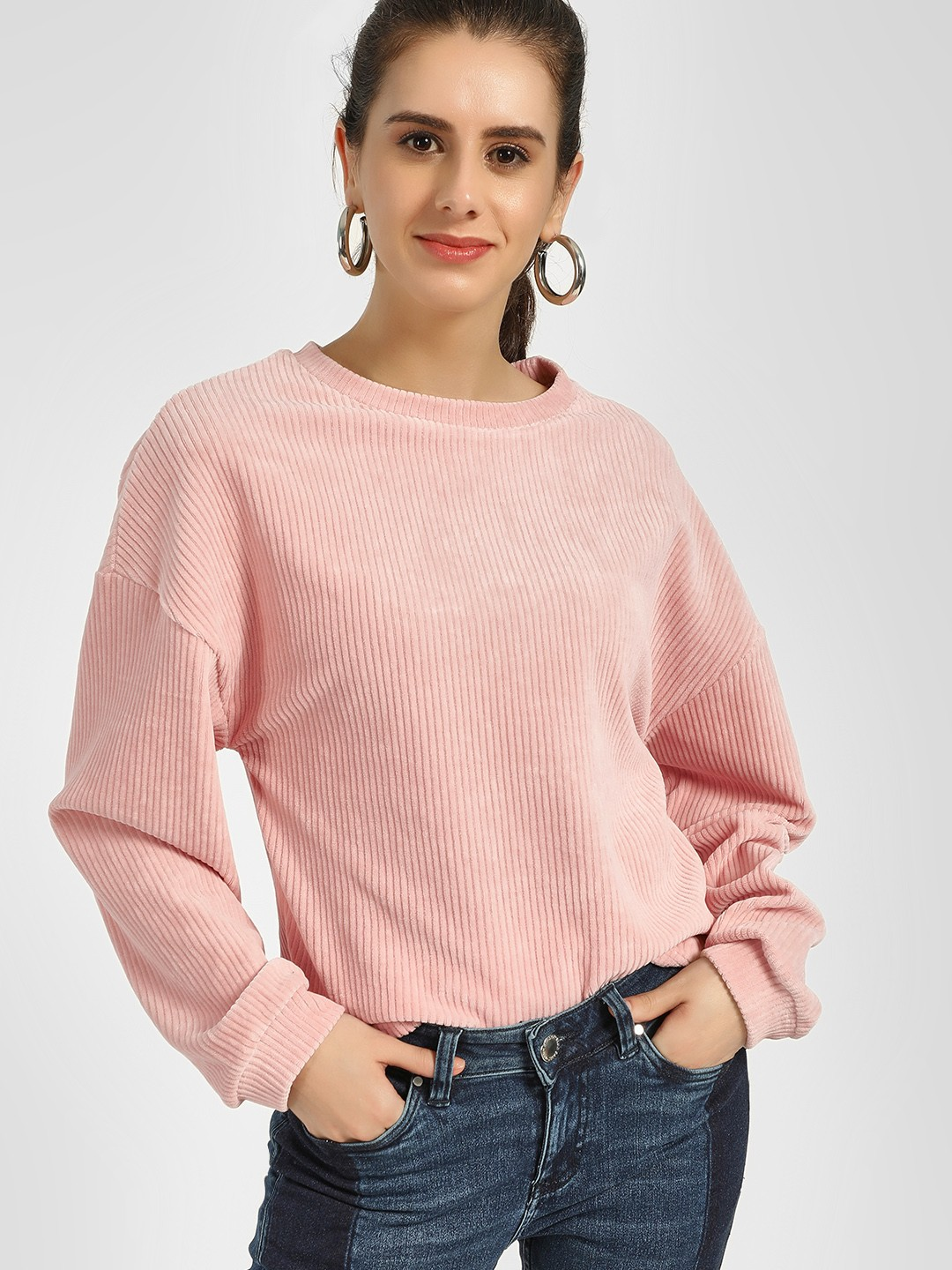 New Look Pink Long Sleeve Chenille Pullover 1