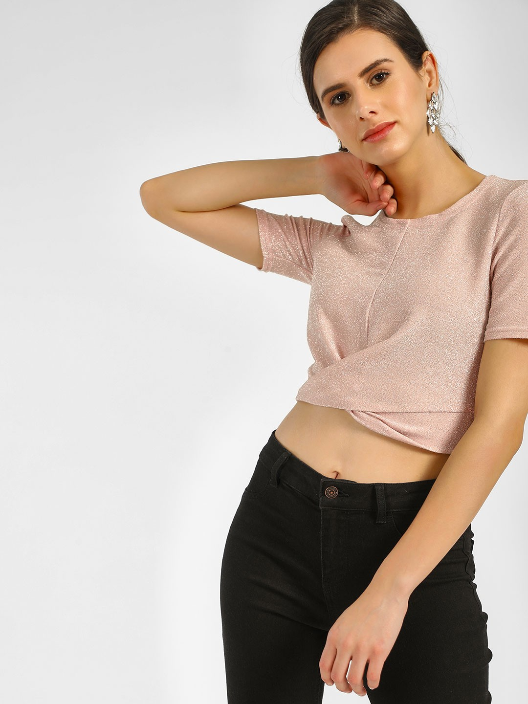 New Look Light Pink Shimmer Twisted Front Crop Top 1