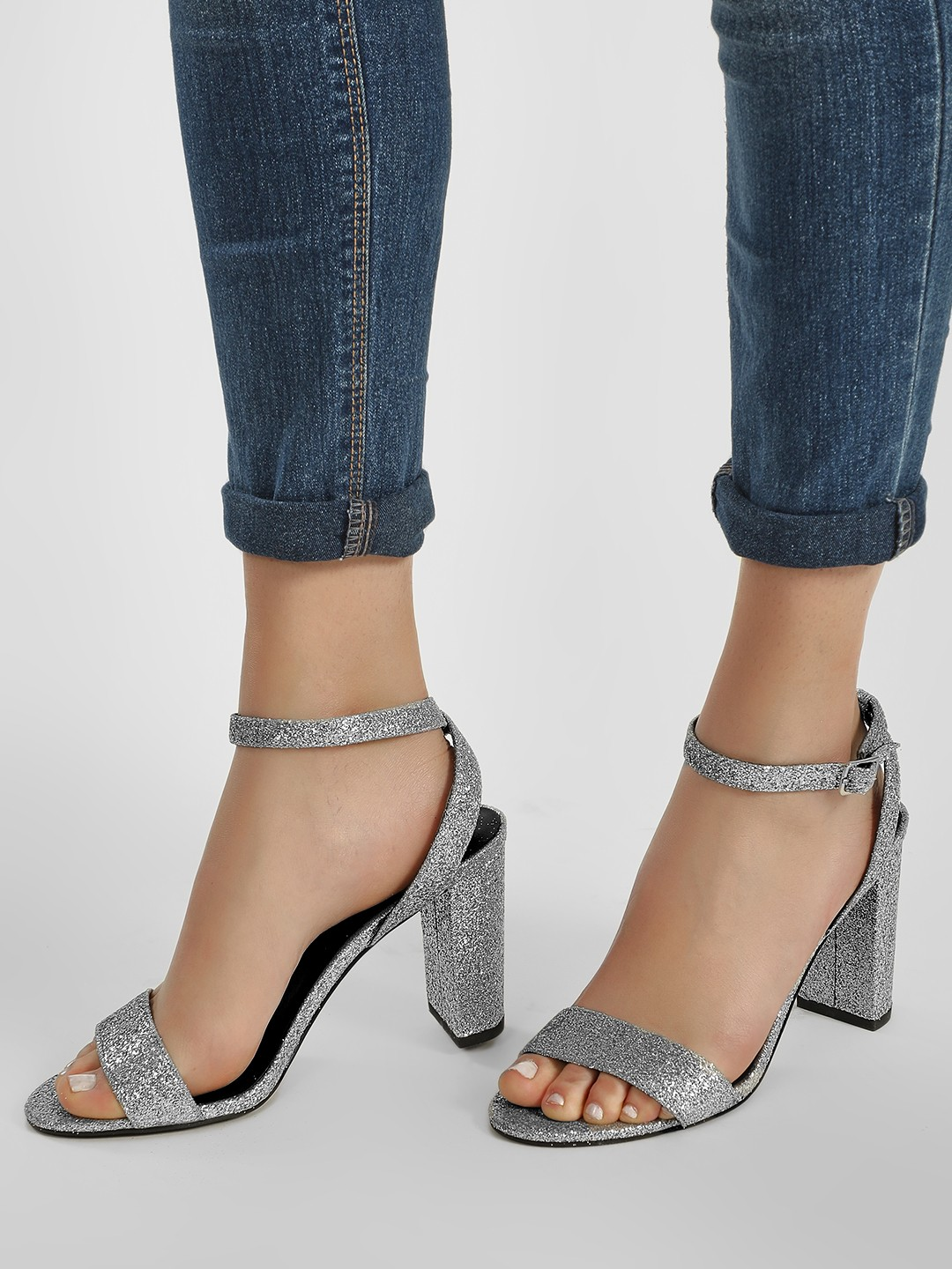 New Look Multi Chunky Glitter Heeled Sandals 1