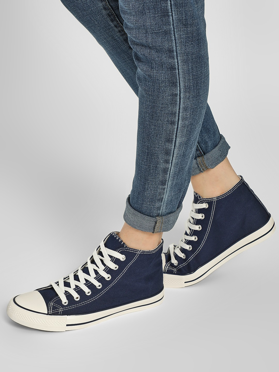 New Look Blue Mid-Top Canvas Sneakers 1
