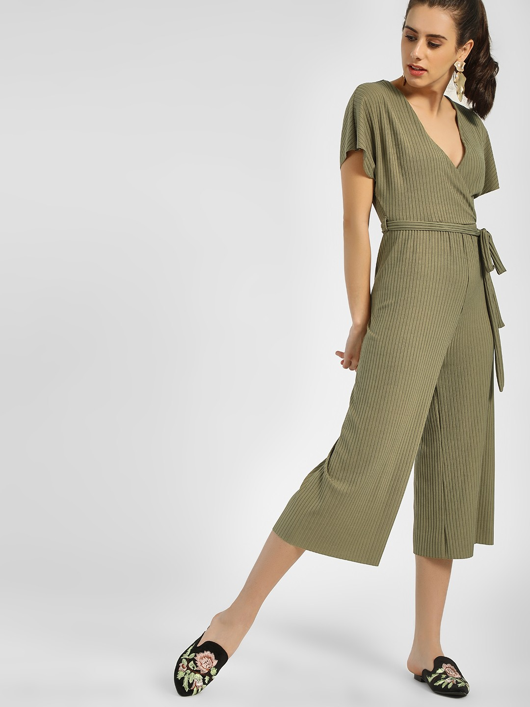 New Look Green Ribbed Front Tie-Up Jumpsuit 1