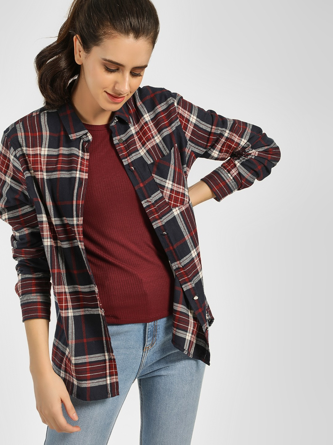 New Look Blue Casual Check Shirt 1