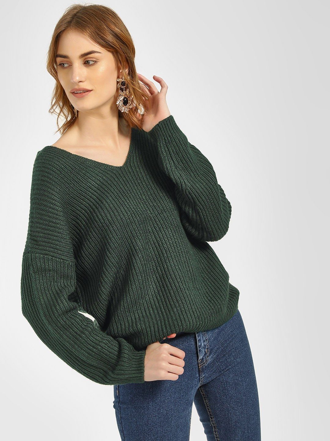 New Look Green Twist Back Pullover 1