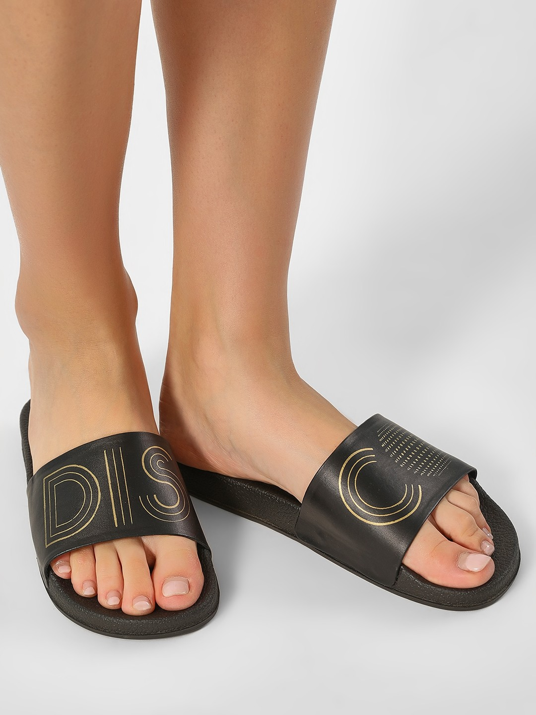 KOOVS Black Disco Print Slides 1