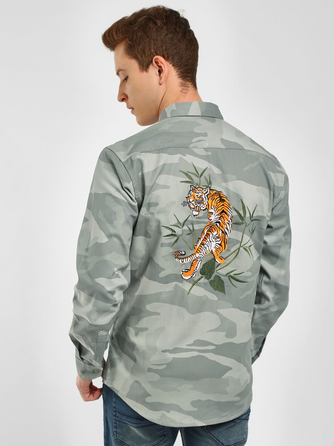 KOOVS Multi Tiger Embroidery Camo Shirt 1