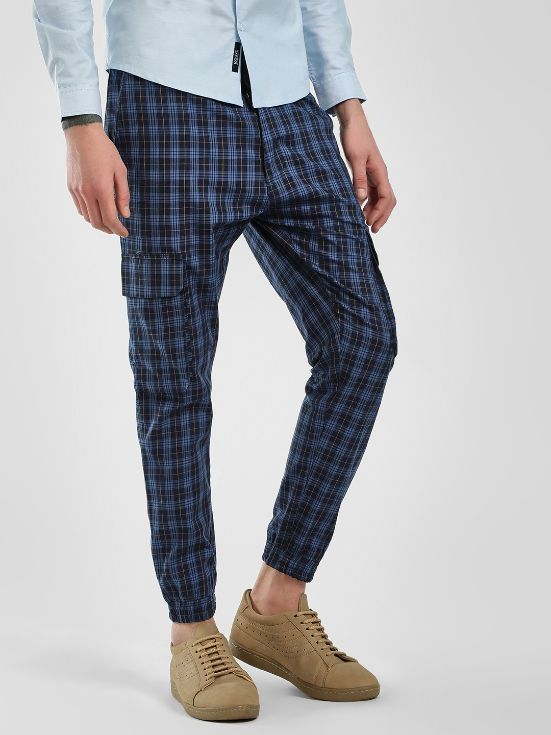 KOOVS Multi Tartan Check Slim Fit Trousers 1