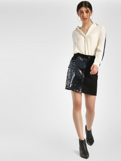 K Denim KOOVS Half Sequin Mini Skirt
