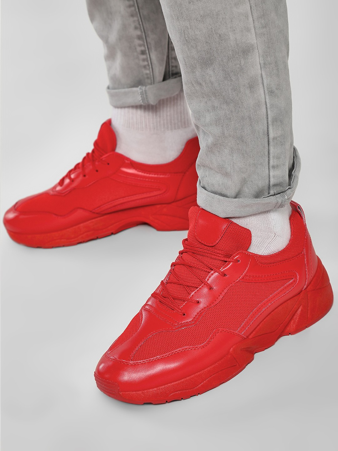 KOOVS Red Groovy Sole Trainers 1