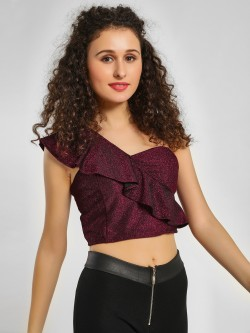 KOOVS Shimmer Detail Crop Top