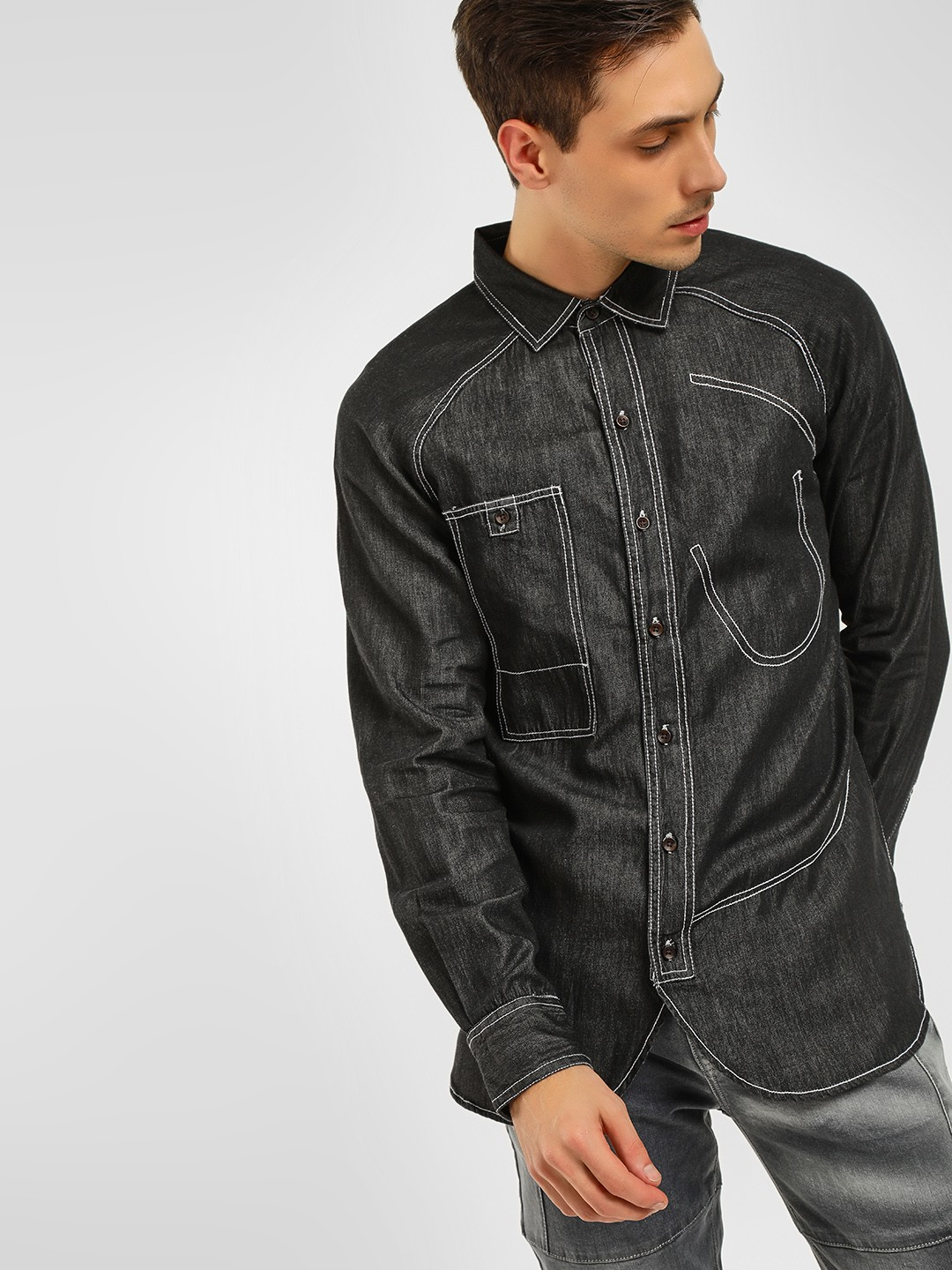 Noble Faith Black Denim Long Sleeves Shirt 1