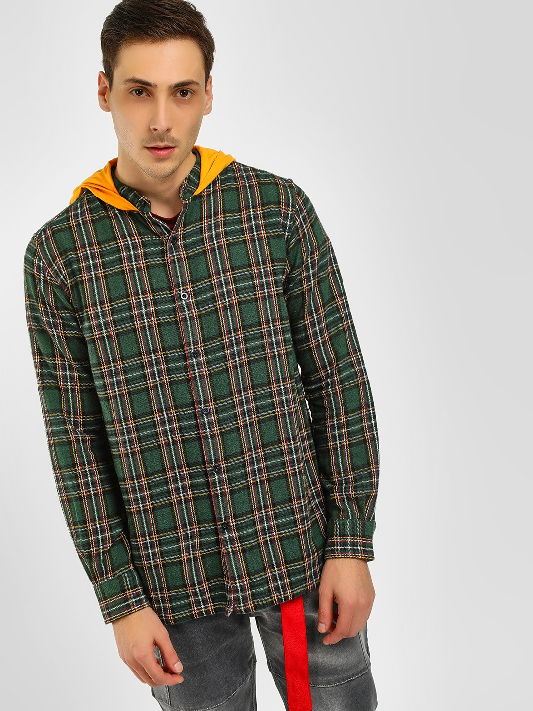 Noble Faith Multi Checkered Hooded Casual Shirt 1