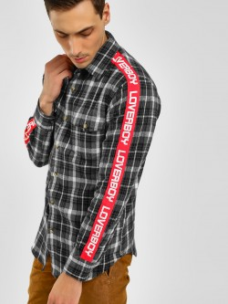Noble Faith Side Tape Slogan Check Shirt