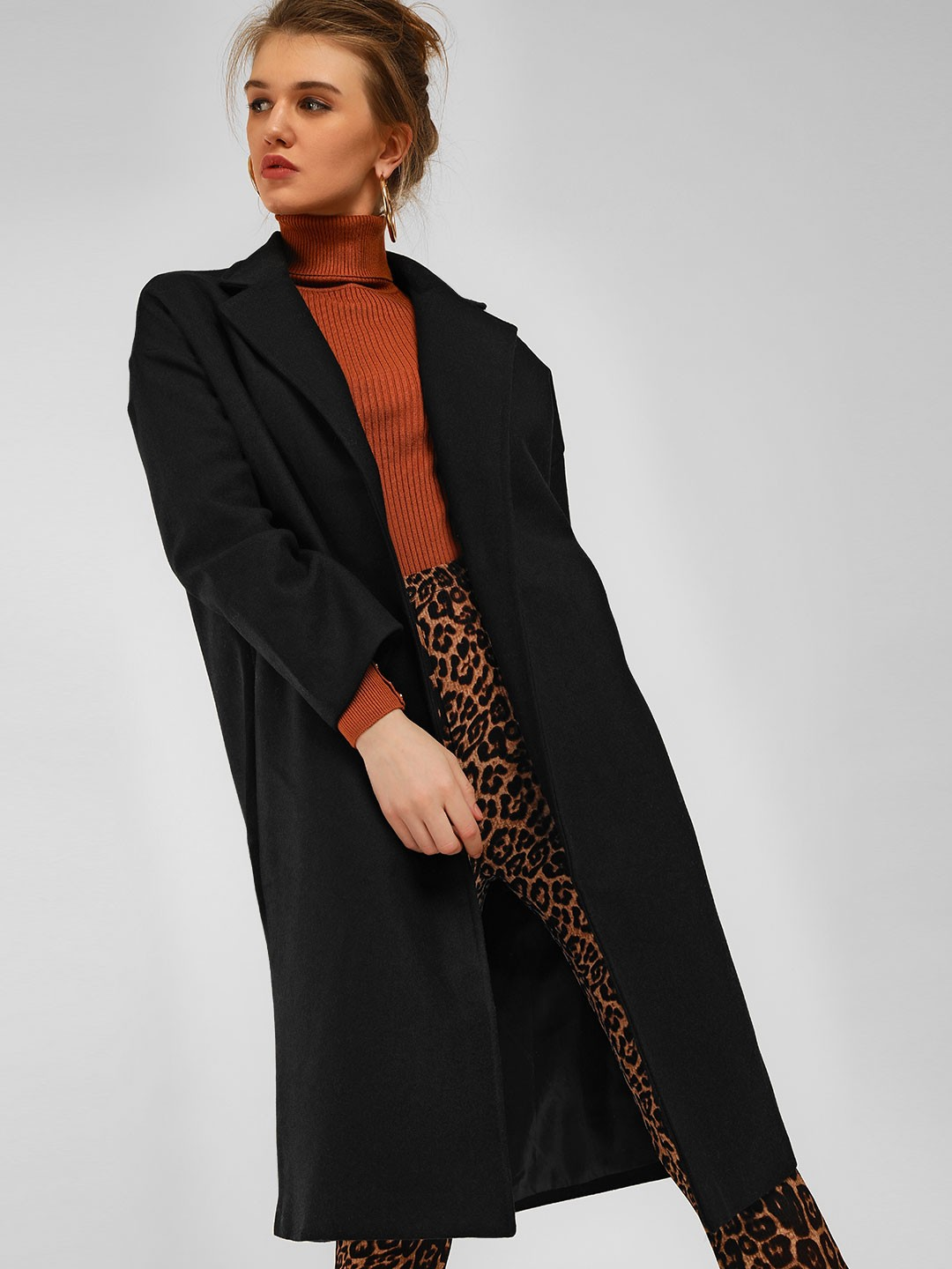 Origami Lily Black Single Breasted Longline Overcoat 1
