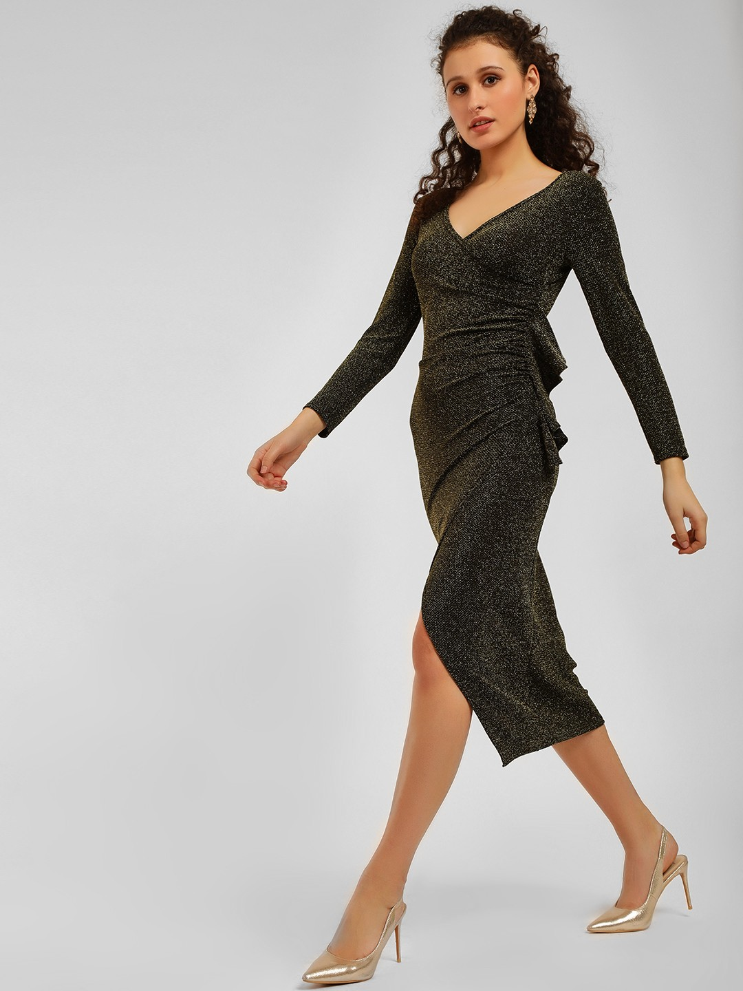 Origami Lily Gold Shimmer Ruched Midi Dress 1