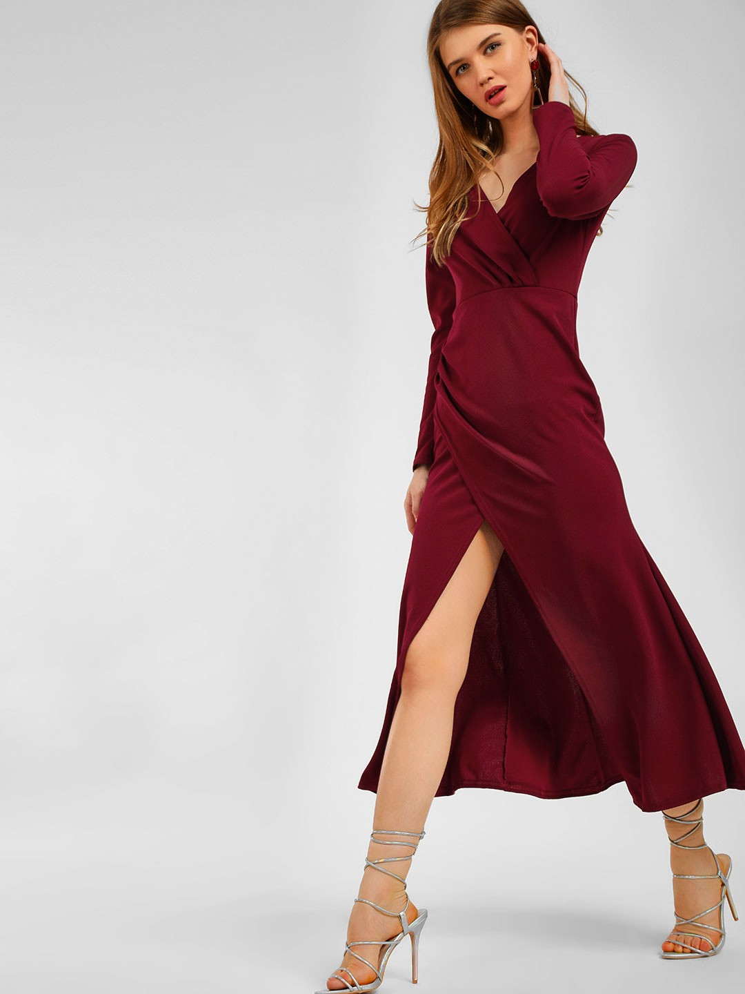 Origami Lily Maroon Front Wrap Midi Dress 1