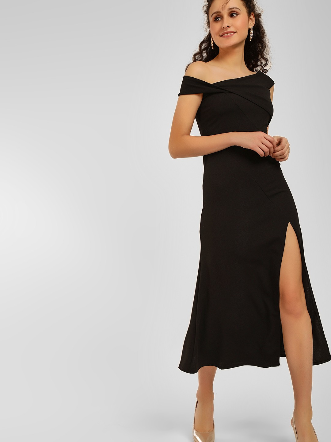Origami Lily Black One Shoulder Maxi Dress 1