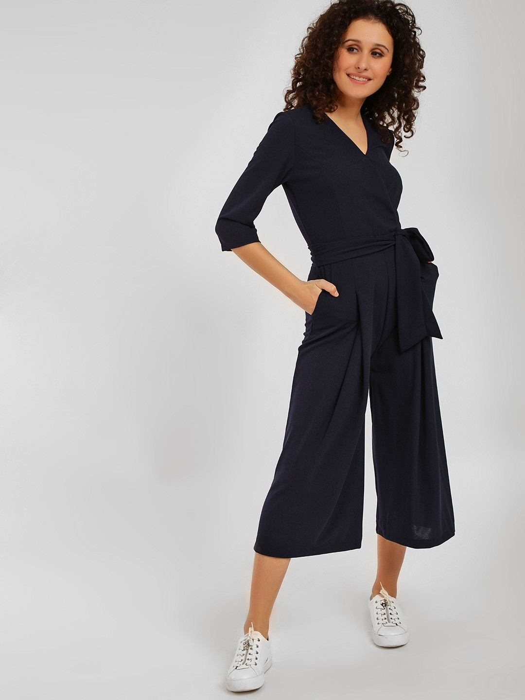 Origami Lily Blue Front Tie-Up Jumpsuit 1