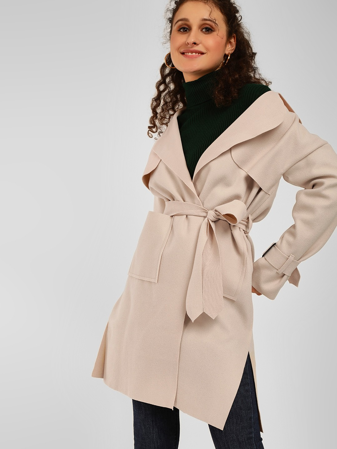 Origami Lily Beige Front Tie-Up Trench Coat 1