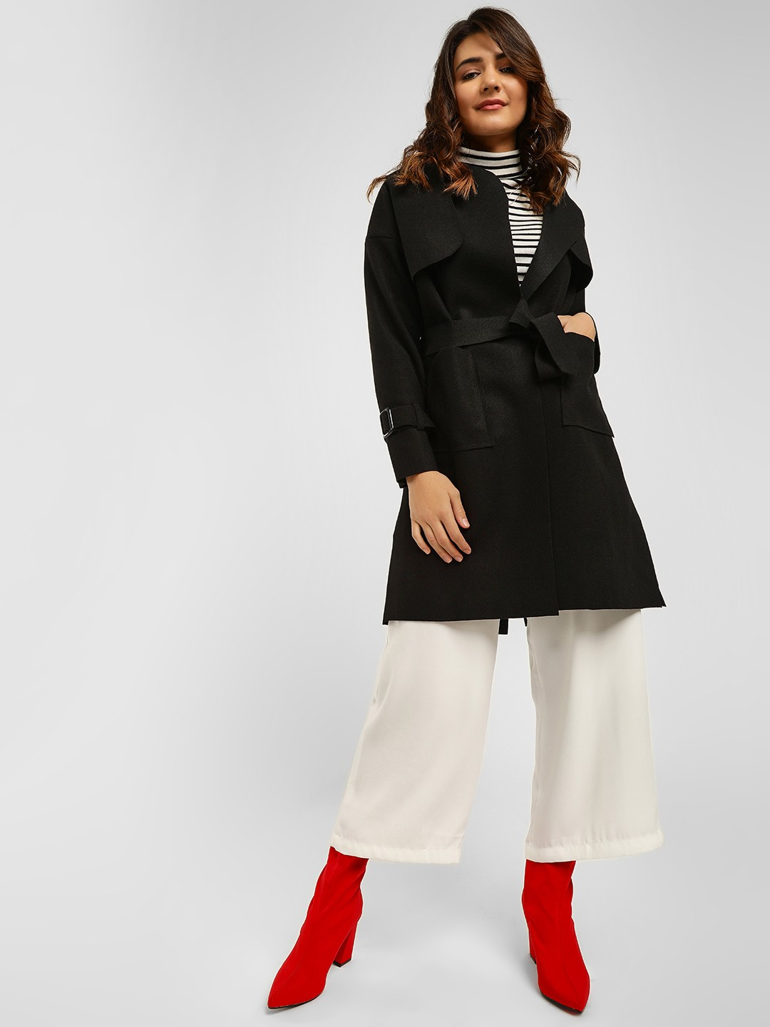 Origami Lily Black Front Tie-Up Trench Coat 1