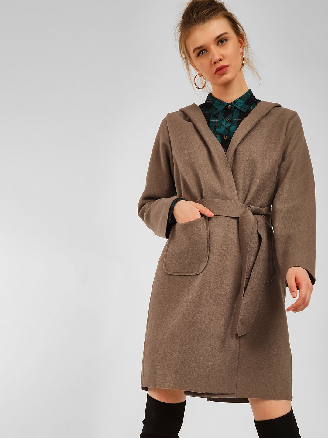 Origami Lily Camel Hooded & Belted Longline Overcoat 1