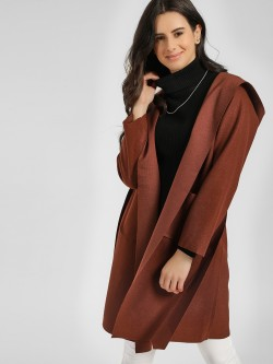 Origami Lily Hooded & Belted Longline Overcoat