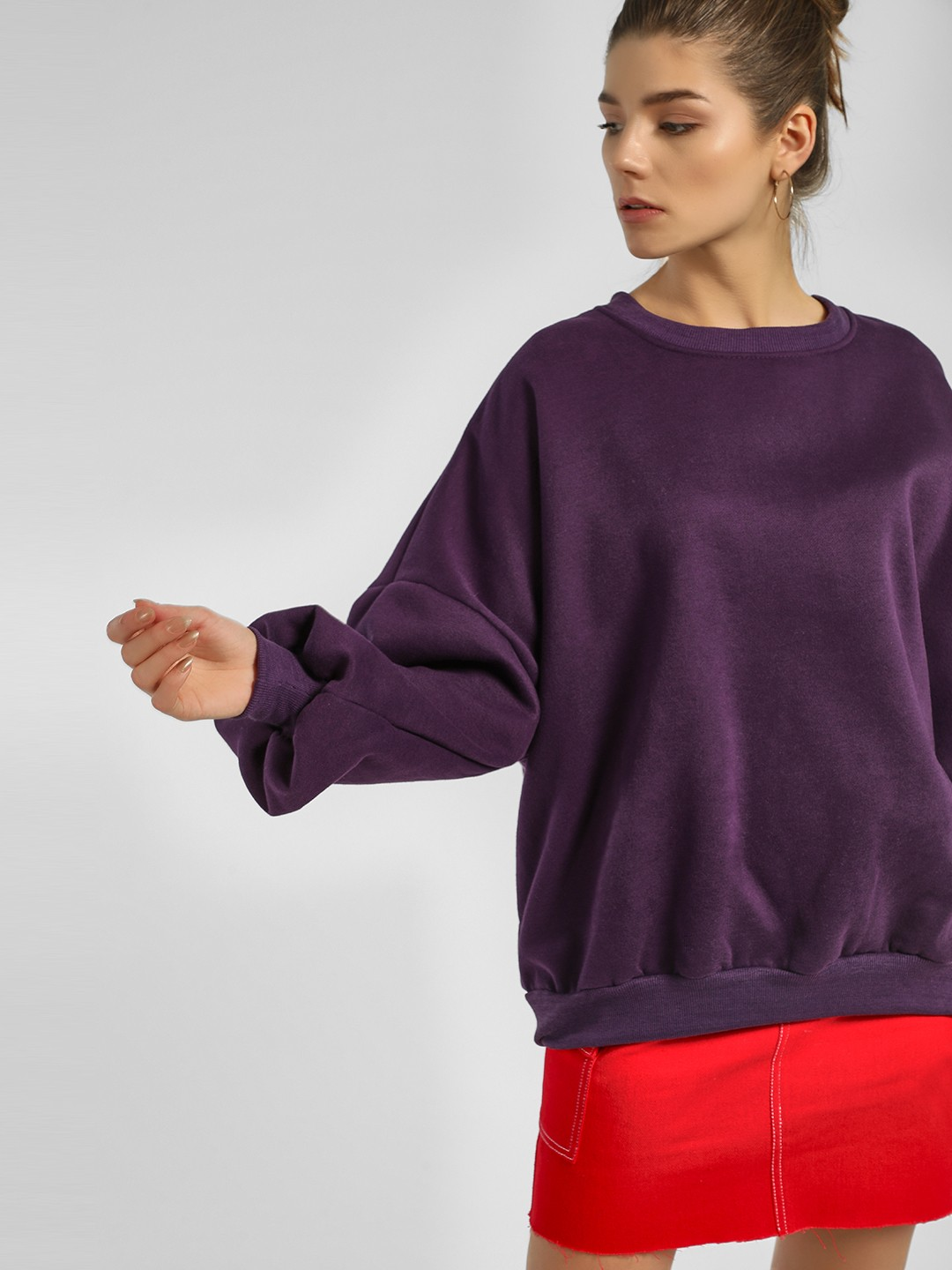Origami Lily Purple Drop Shoulder Oversized Sweatshirt 1