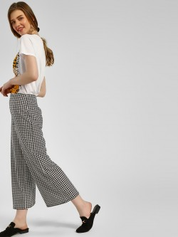 New Look Houndstooth Print Flared Trousers
