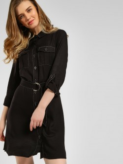 New Look Rolled-Up Sleeve Shirt Dress