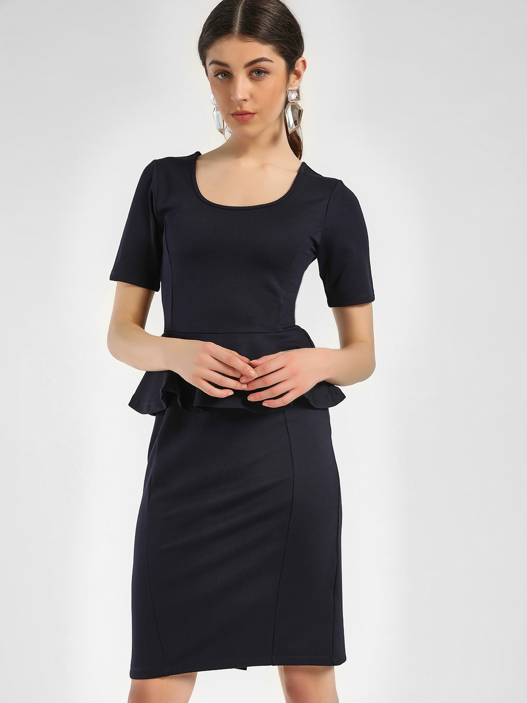 KOOVS Navy Peplum Waist Bodycon Dress 1
