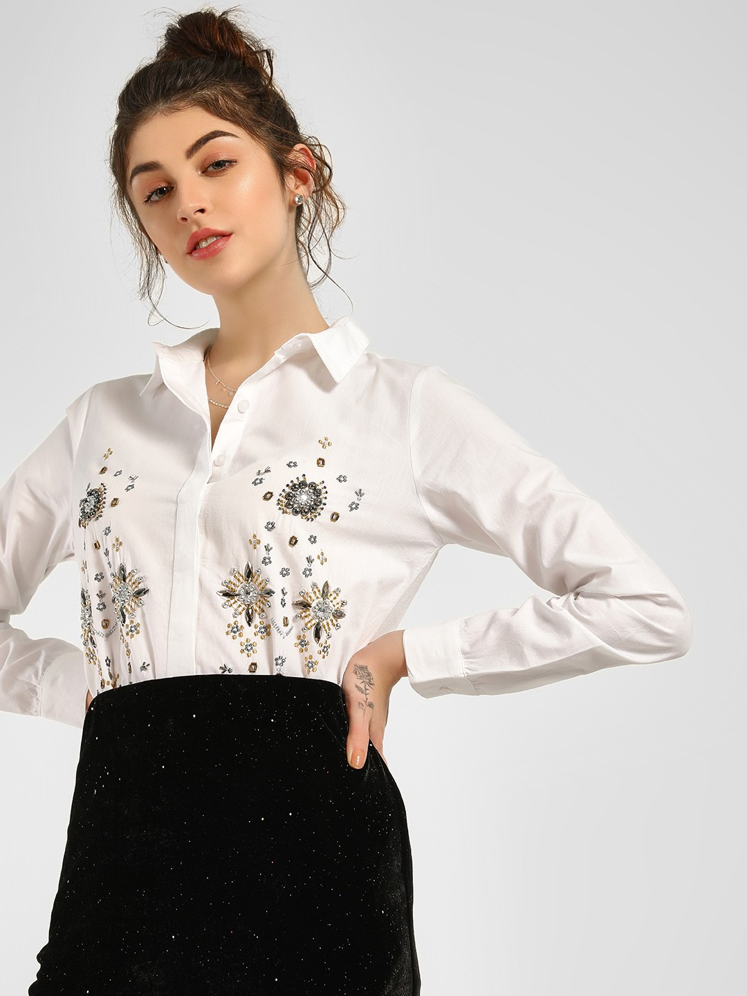 KOOVS White Embroidered And Embellished Shirt 1