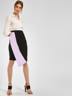 KOOVS Colour Block Asymmetric Pencil Skirt