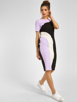 KOOVS Colour Block Paneled Midi Dress